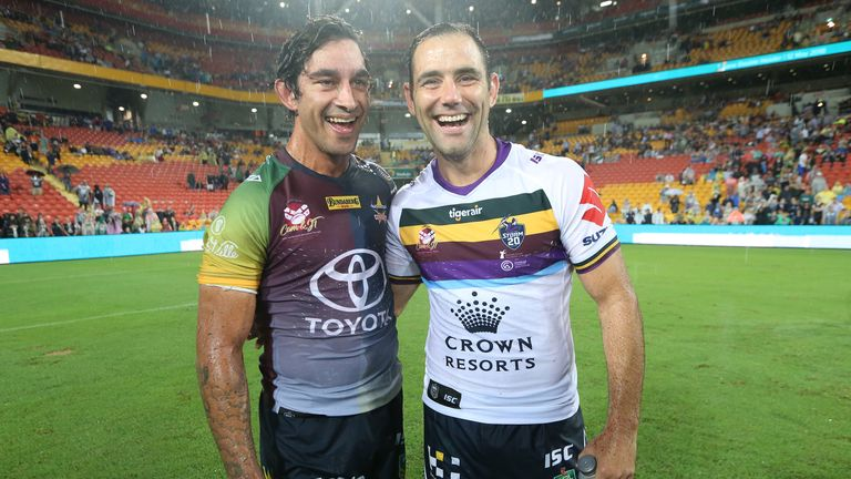 Johnathan Thurston (L) and  Cameron Smith are ready to lock horns again in 2018