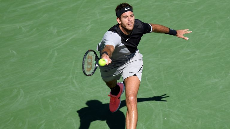 Juan Martin del Potro bangs his racket thrice during Indian Wells victory