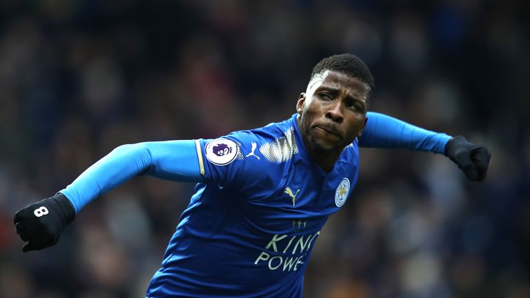 Kelechi Iheanacho celebrates after scoring for Leicester against West Brom