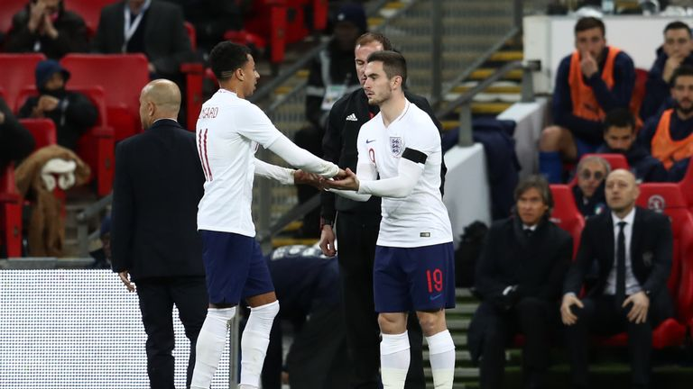 Lewis Cook comes on to make his England debut at Wembley on Tuesday