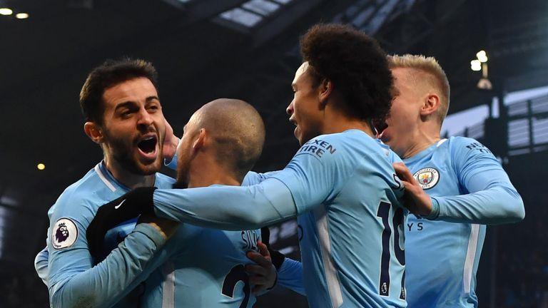 Bernardo Silva celebrates his opener for Manchester City against Chelsea