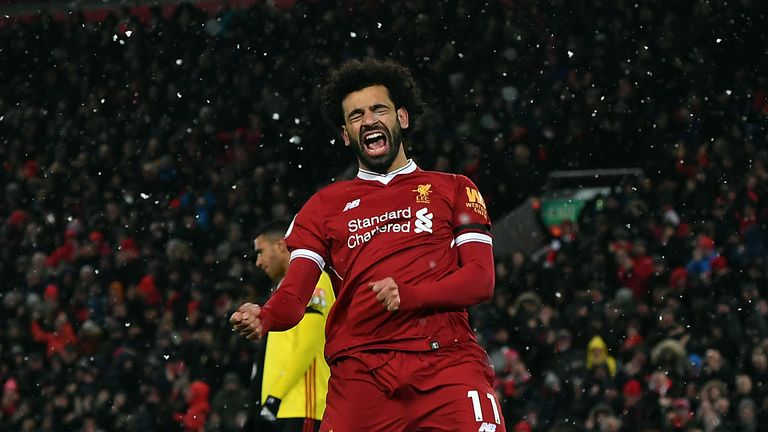 Mo Salah celebrates after scoring against Watford on Saturday