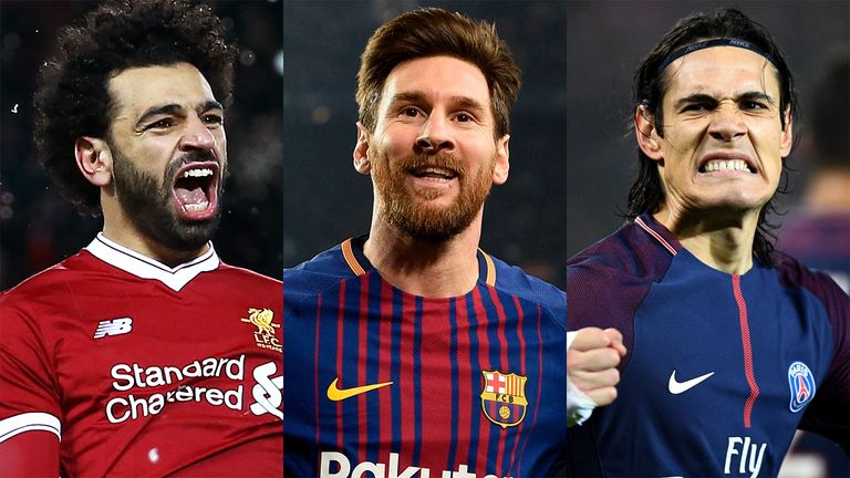 Mo Salah (left), Lionel Messi and Edinson Cavani (right) are all in the running to win this season's European Golden Shoe