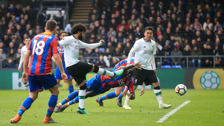 Liverpool's Mohamed Salah scores his side's second goal of the game during the Premier League match against Crystal Palace at Selhurst Park