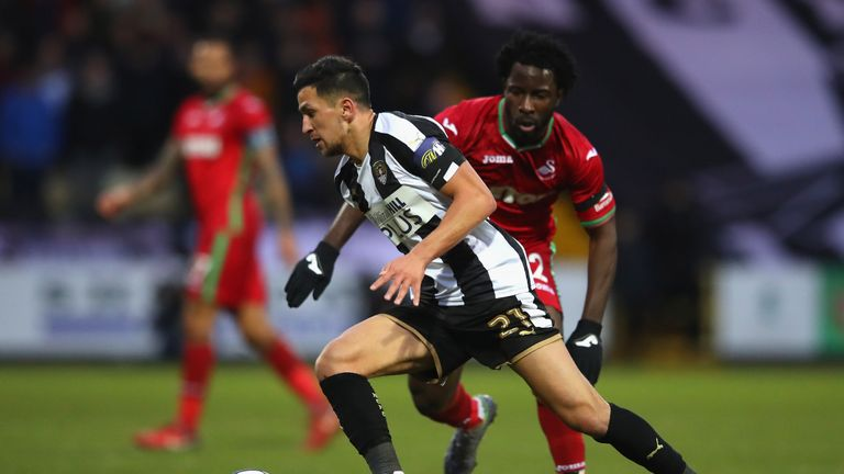Noor Husin in action for Notts County against Swansea in the FA Cup