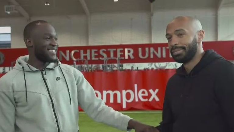Romelu Lukaku chats to Thierry Henry about his role at Manchester United