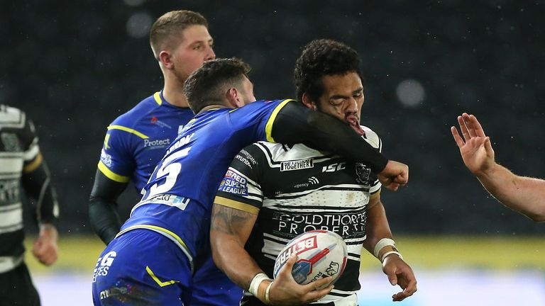 Declan Patton was sent off for this challenge on Hull FC's Bureta Faraimo