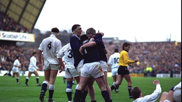Scotland players celebrate at the full-time whistle in 1990