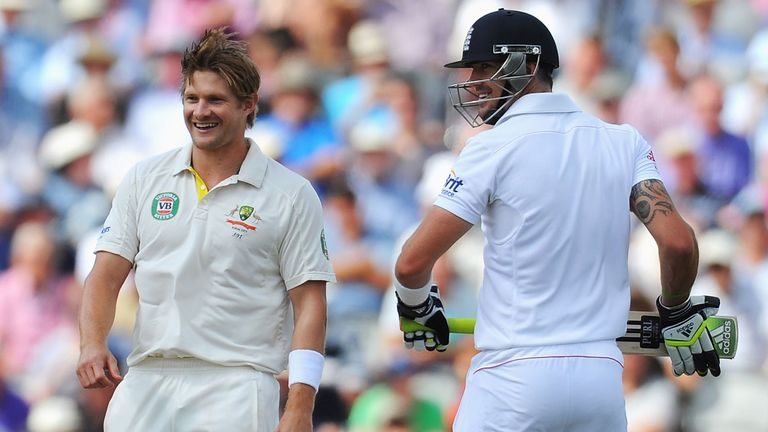 Shane Watson and Kevin Pietersen enjoy a lighter moment in the 2013 Ashes