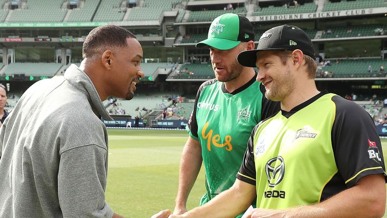 Shane Watson meets Will Smith during the 2017/2018 Big Bash League