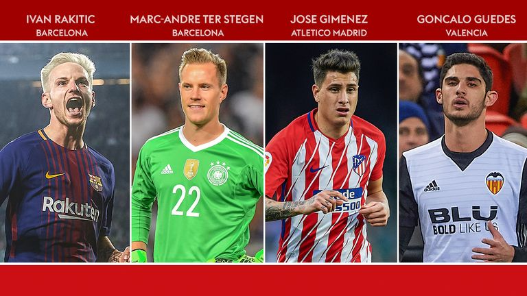 Ivan Rakitic, Marc-Andre ter Stegen, Jose Gimenez and Goncalo Guedes have shone in La Liga this season