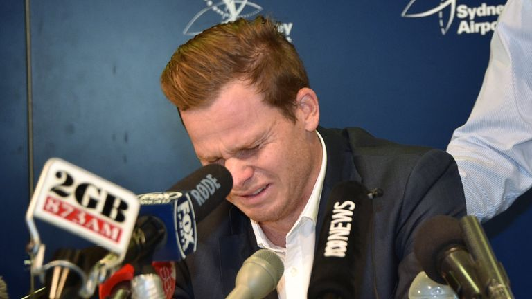 Steve Smith breaks down in tears during his press conference announcing his resignation as Australia captain