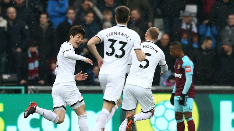 Sung-Yueng Ki's early strike put Swansea ahead of the Liberty Stadium