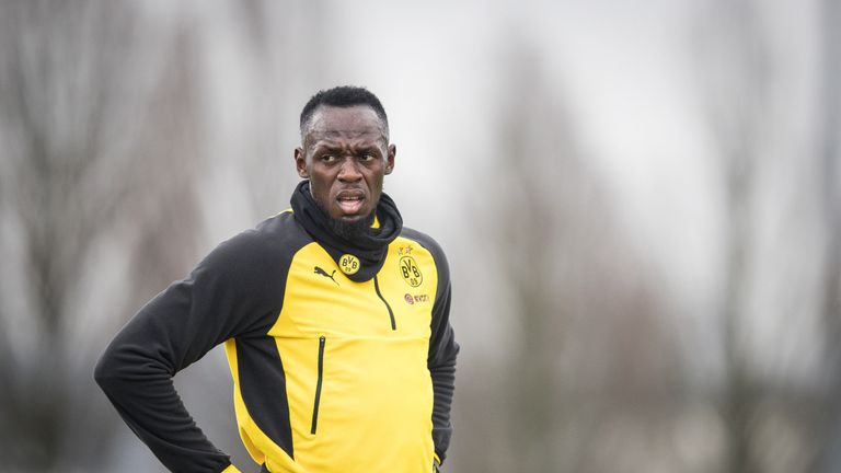 Usain Bolt arrives for training with A-League club Central Coast Mariners