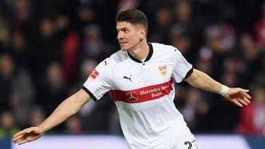 Mario Gomez celebrates scoring for Stuttgart