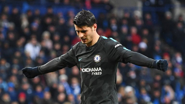 Alvaro Morata of Chelsea celebrates as he scores their first goal during The Emirates FA Cup Quarter Final match between Leicester City and Chelsea at The King Power Stadium on March 18, 2018 in Leicester, England