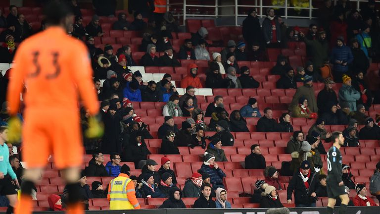 A number of empty seats can be seen shortly after kick off at the Emirates Stadium