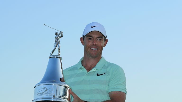 ORLANDO, FL - MARCH 18:  Rory McIlroy of Northern Ireland holds the trophy after his two shot victory during the final round at the Arnold Palmer Invitatio