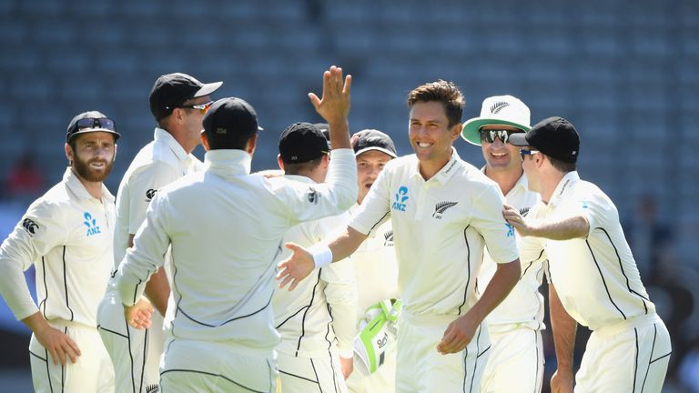 Trent Boult during the First Test Match between the New Zealand Black Caps and England at Eden Park on March 22, 2018 in Auckland, New Zealand.