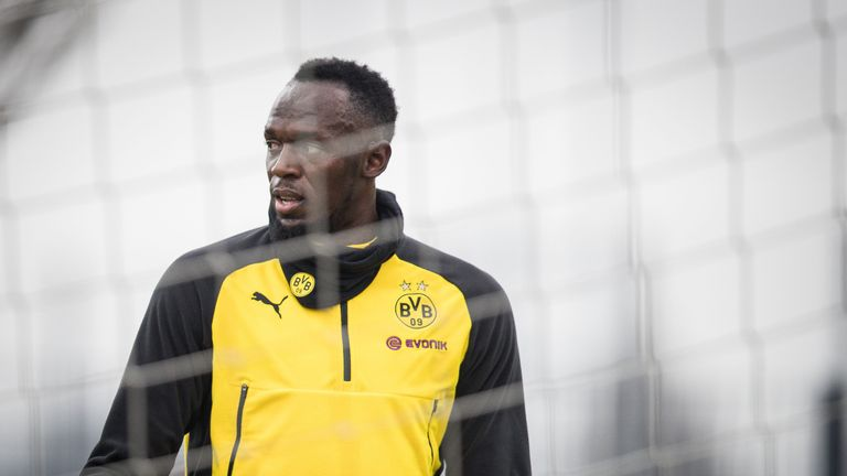 Usain Bolt during a training session with Borussia Dortmund on March 23, 2018