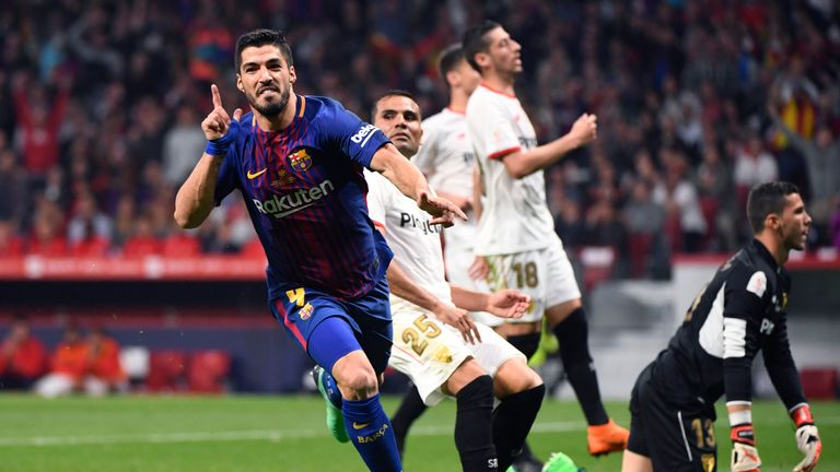 Luis Suarez was on target in the 5-0 thrashing of Sevilla in the Copa Del Rey final last week
