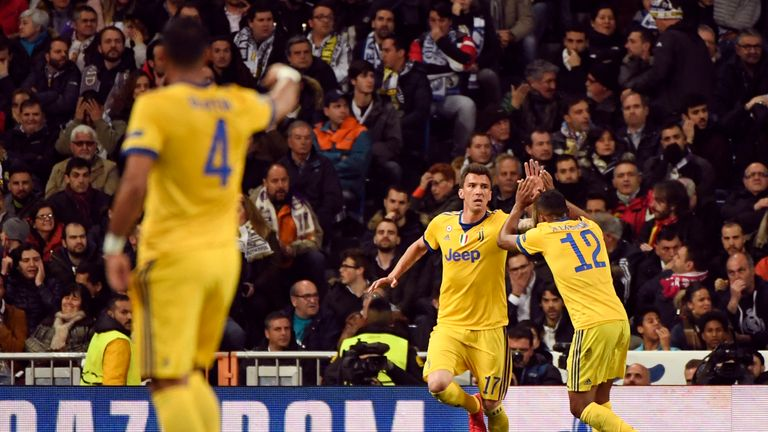 Mario Mandzukic is congratulated after scoring his second goal