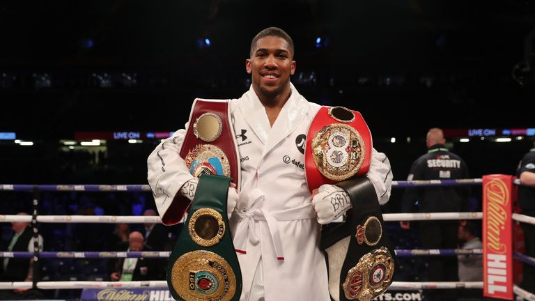 Anthony Joshua holds IBF, WBA and WBO belts after win over Joseph Parker