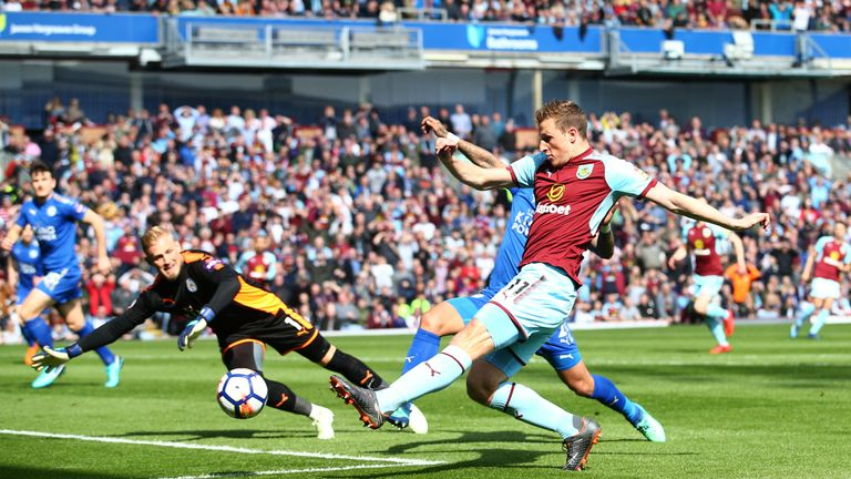 Burnley's Chris Wood scores his side's first goal of the game in the Premier League match against Leicester City