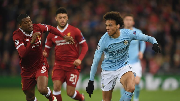 Image result for man city 1-2 liverpool champions league sane