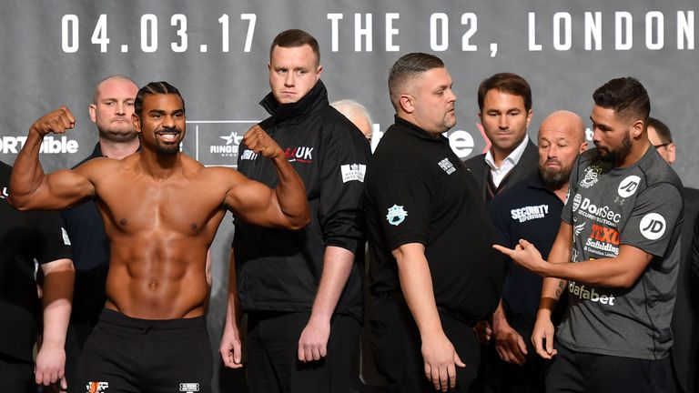 Haye weighed nearly a stone heavier than Bellew for their first fight