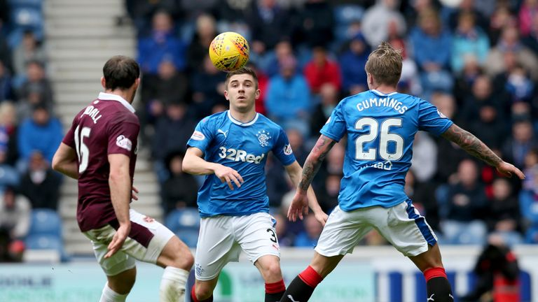 Declan John and Jason Cummings (right) battle for the ball with Connor Randall
