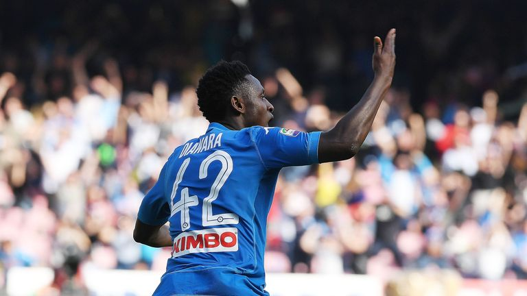 Amadou Diawara celebrates his injury-time winner against Chievo