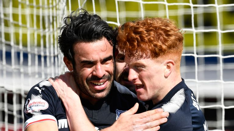 Sofien Moussa (L) has scored seven goals in the Scottish Premiership for Dundee this season