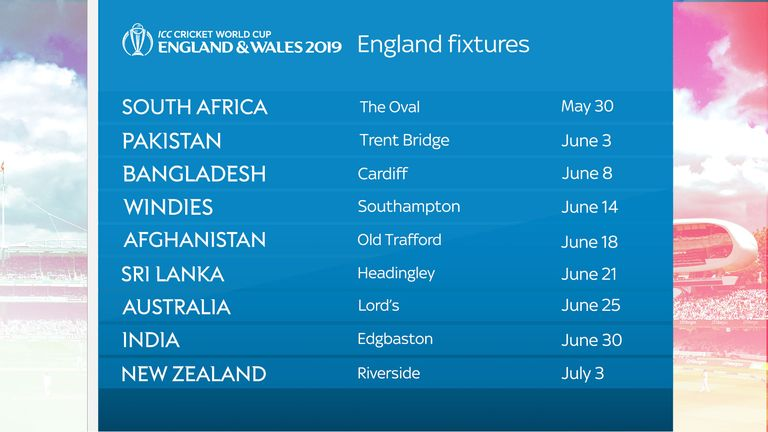 England's ICC 2019 World Cup fixtures