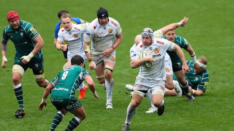 Thomas Waldrom makes a break past the London Irish defence