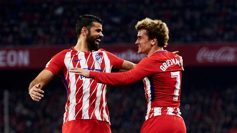Diego Costa (left) should be back in action for Atletico