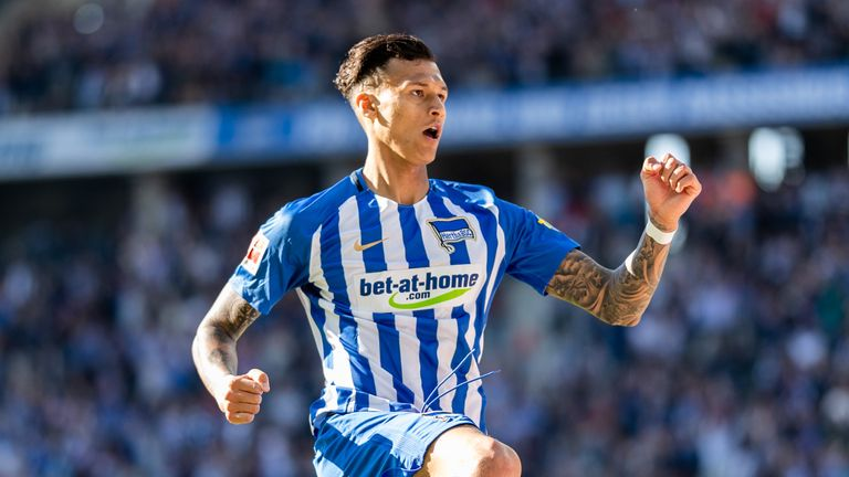 David Selke celebrates his equaliser in Hertha Berlin's draw against Augsburg