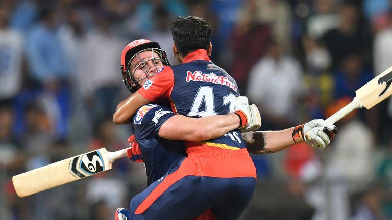 Roy and Shreyas Iyer celebrate Delhi's win over Mumbai in the IPL (Credit: AFP)