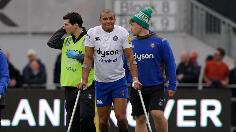 Jonathan Joseph was injured 29 minutes into Bath's defeat