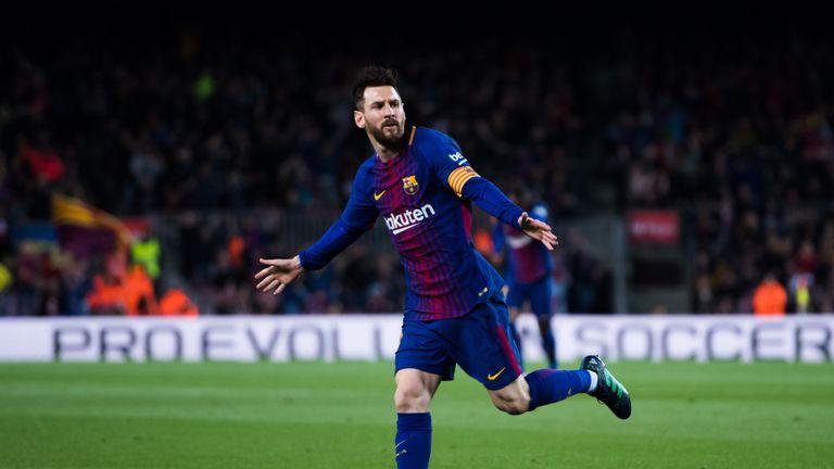 Lionel Messi scores for Barcelona against Leganes