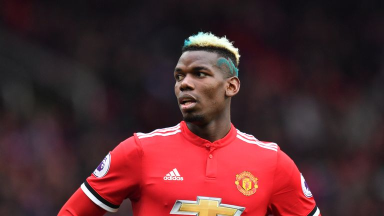 Paul Pogba sported a blue hairstyle at the Etihad