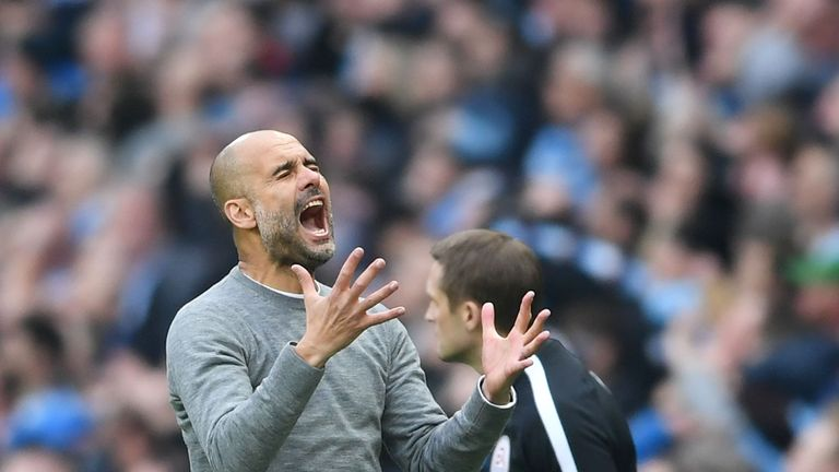 Pep Guardiola shows his frustration following a missed chance during the Manchester derby