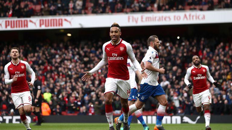 Arsenal's Pierre-Emerick Aubameyang celebrates scoring the first goal