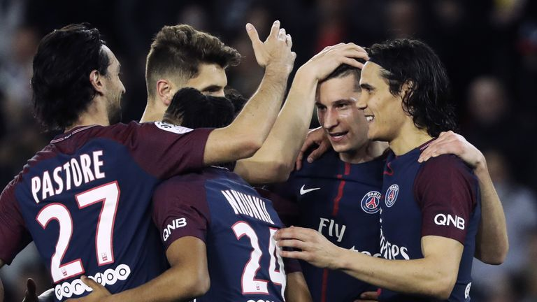 PSG celebrate a goal in their 7-1 win