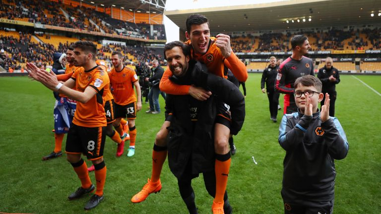 Wolves players enjoy the win over Birmingham