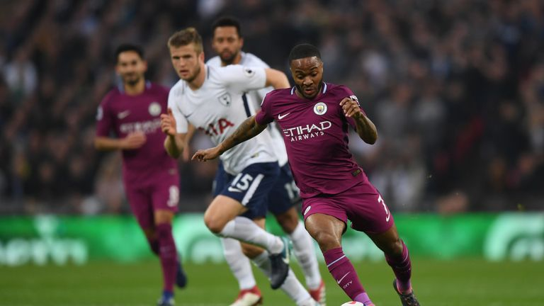 during the Premier League match between Tottenham Hotspur and Manchester City at Wembley Stadium on April 14, 2018 in London, England.
