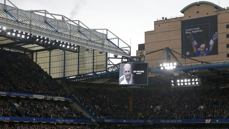 Stamford Bridge pays tribute to the late Ray Wilkins, formerly captain of Chelsea
