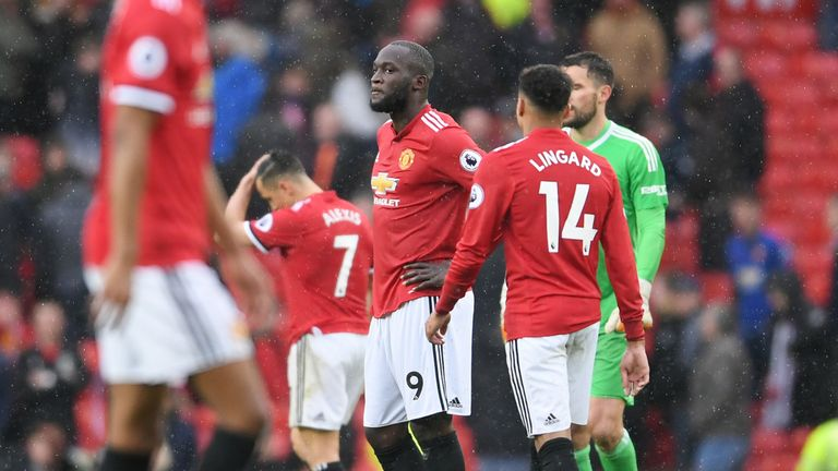Romelu Lukaku looks dejected after the 1-0 loss to West Brom
