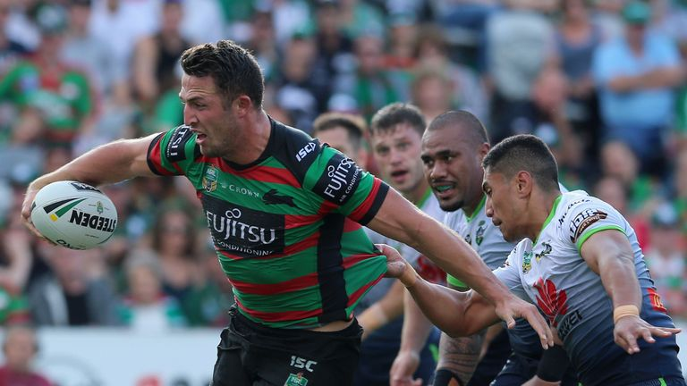 Sam Burgess on the charge for the Rabbitohs