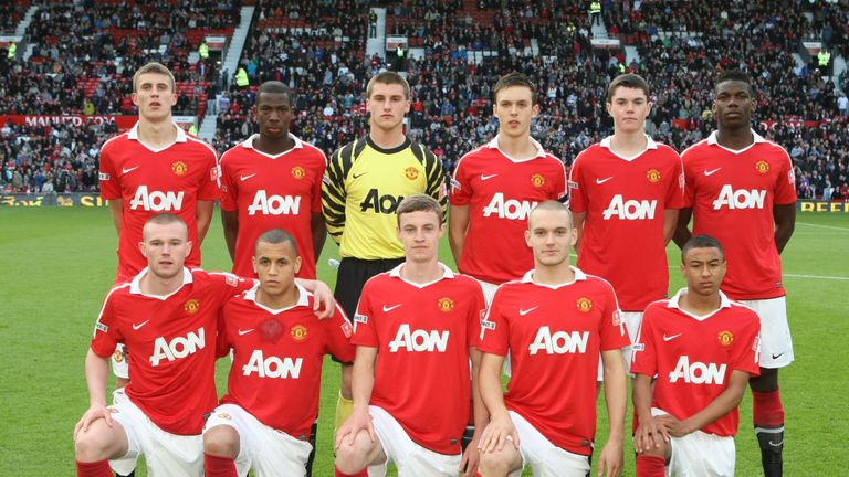 Sam Johnstone played for United's youth sides alongside Michael Keane (back-row second from right), Paul Pogba (back-row far right) and Jesse Lingard (front-row far right)